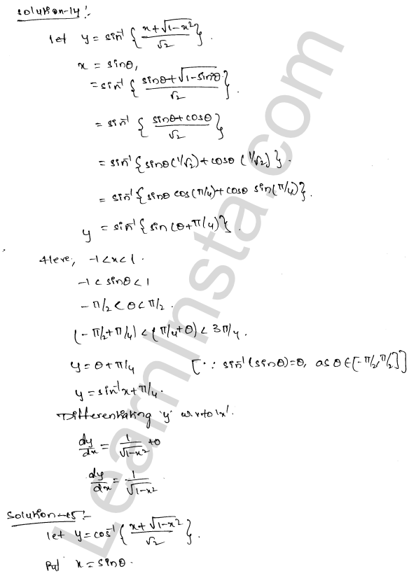 RD Sharma Solutions Class 12 Differentiation Chapter 11 Ex 11.3 9