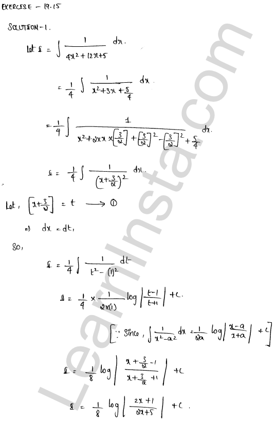 RD Sharma Class 12 Solutions Chapter 19 Indefinite Integrals Ex 19.15 1