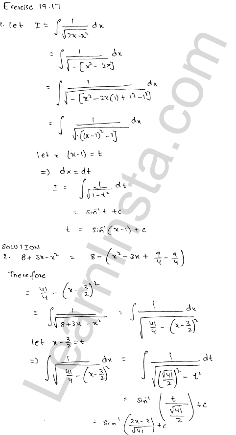 RD Sharma Class 12 Solutions Chapter 19 Indefinite Integrals Ex 19.17 1