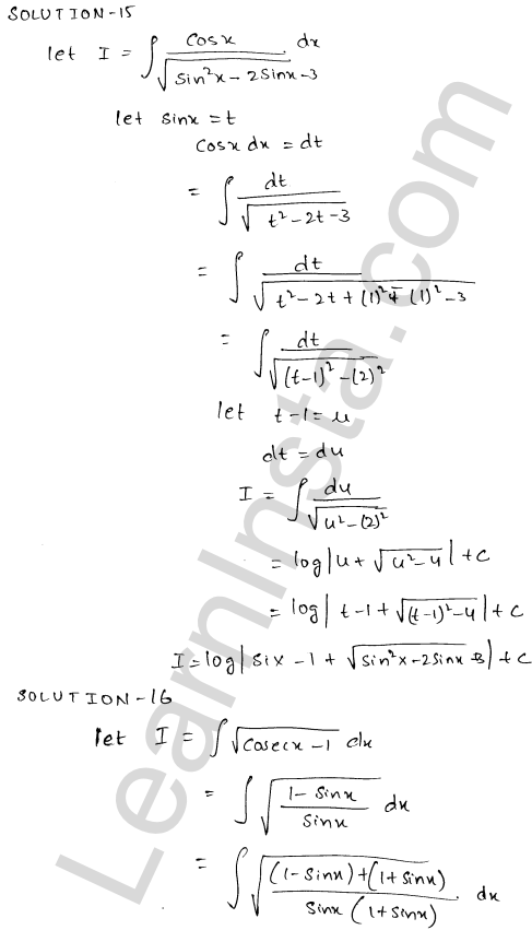 RD Sharma Class 12 Solutions Chapter 19 Indefinite Integrals Ex 19.18 8