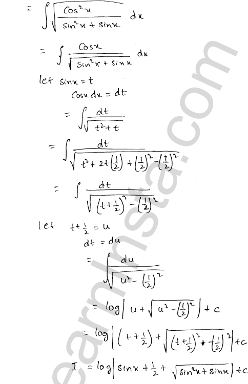 RD Sharma Class 12 Solutions Indefinite Integrals Chapter 19 Ex 19.18 9