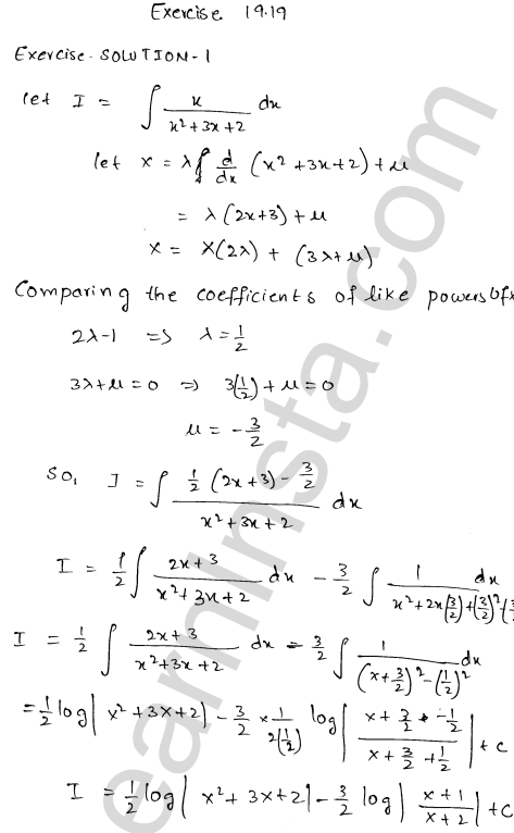 RD Sharma Class 12 Solutions Chapter 19 Indefinite Integrals Ex 19.19 1