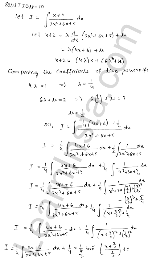 RD Sharma Solutions Class 12 Indefinite Integrals Chapter 19 Ex 19.19 10
