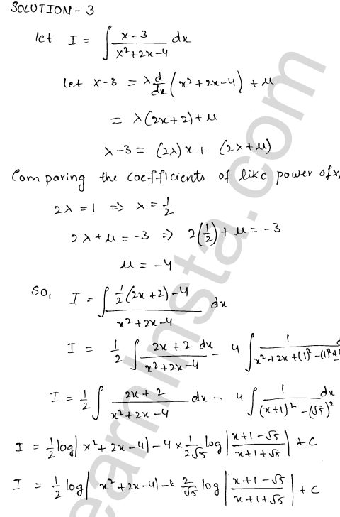 RD Sharma Solutions Class 12 Indefinite Integrals Chapter 19 Ex 19.19 3