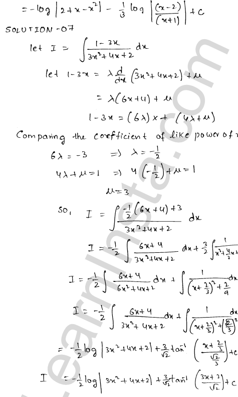 Class 12 RD Sharma maths solutions chapter 19 Indefinite Integrals Ex 19.19 7