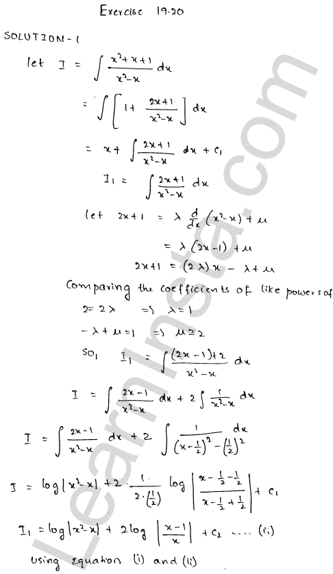 RD Sharma Class 12 Solutions Chapter 19 Indefinite Integrals Ex 19.20 1