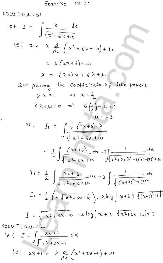 RD Sharma Class 12 Solutions Chapter 19 Indefinite Integrals Ex 19.21 1