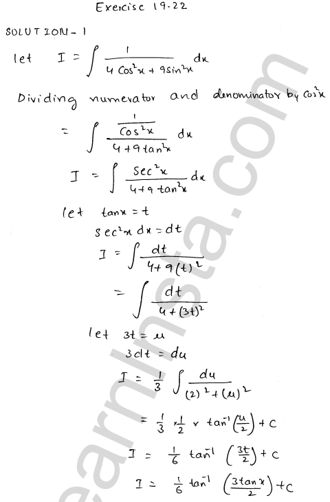 RD Sharma Class 12 Solutions Chapter 19 Indefinite Integrals Ex 19.22 1