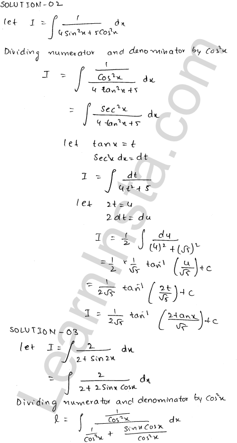 RD Sharma Class 12 Solutions Indefinite Integrals Chapter 19 Ex 19.22 2