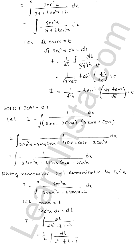 Class 12 RD Sharma solutions chapter 19 Indefinite Integrals Ex 19.22 6