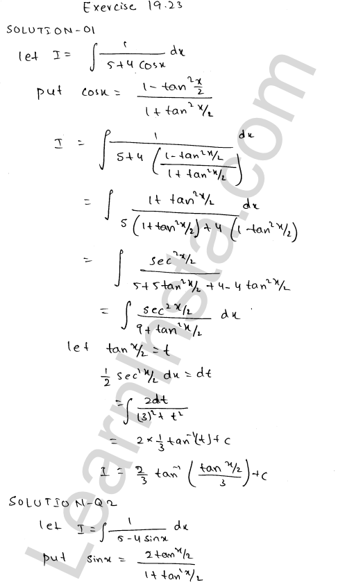 RD Sharma Class 12 Solutions Chapter 19 Indefinite Integrals Ex 19.23 1