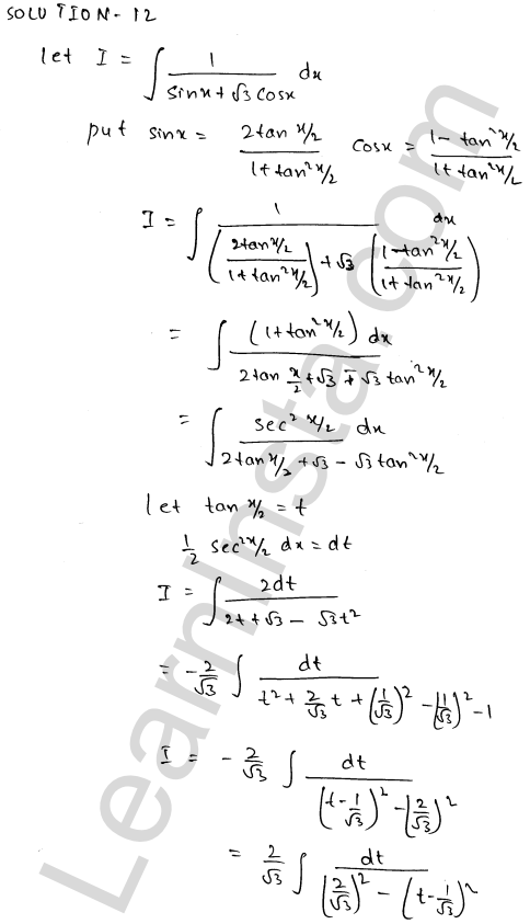 Solution of RD Sharma class 12 chapter 19 Indefinite Integrals Ex 19.23 12