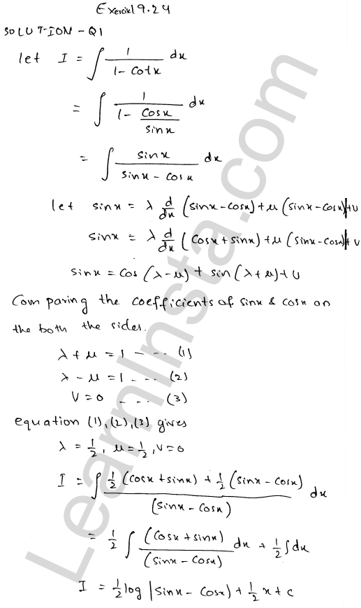 RD Sharma Class 12 Solutions Chapter 19 Indefinite Integrals Ex 19.24 1
