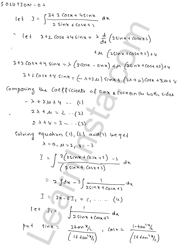 RD Sharma Class 12 Solutions Indefinite Integrals Chapter 19 Ex 19.24 2