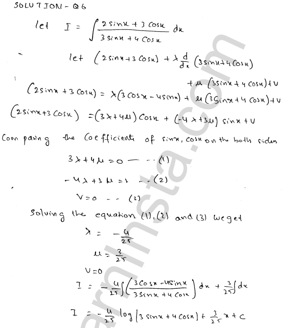 Class 12 RD Sharma solutions chapter 19 Indefinite Integrals Ex 19.24 6