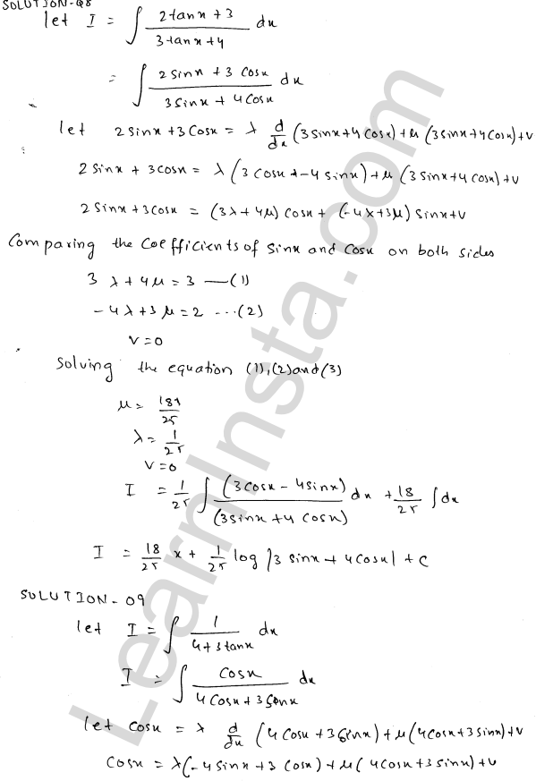 Class 12 RD Sharma maths solutions chapter 19 Indefinite Integrals Ex 19.24 7