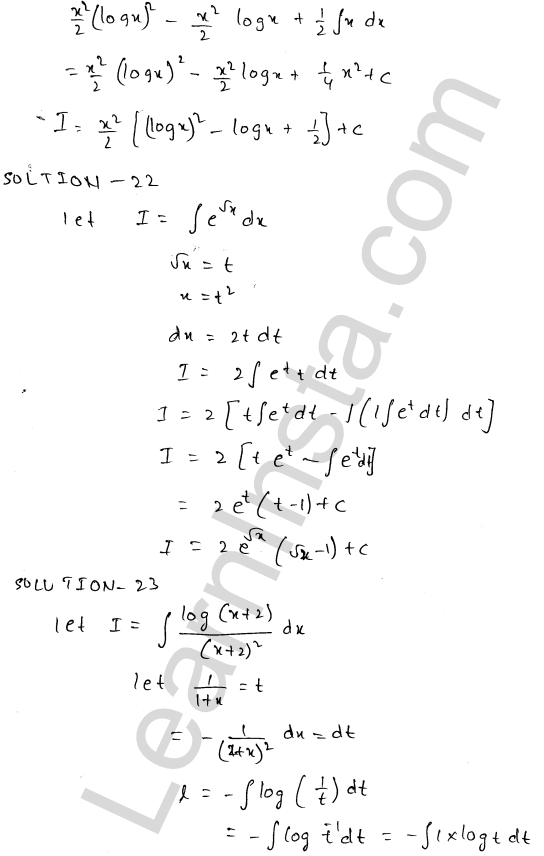 RD Sharma Solutions Class 12 Indefinite Integrals Chapter 19 Ex 19.25 10