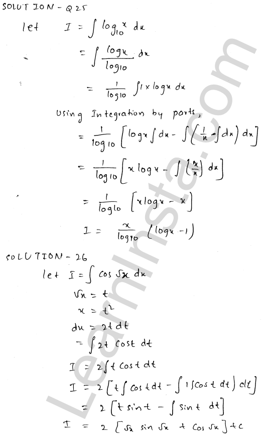 RD Sharma Solutions Class 12 Indefinite Integrals Chapter 19 Ex 19.25 12