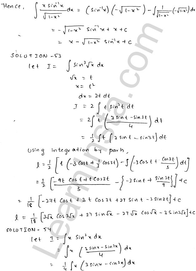 Class 12 RD Sharma maths solutions chapter 19 Indefinite Integrals Ex 19.25 28