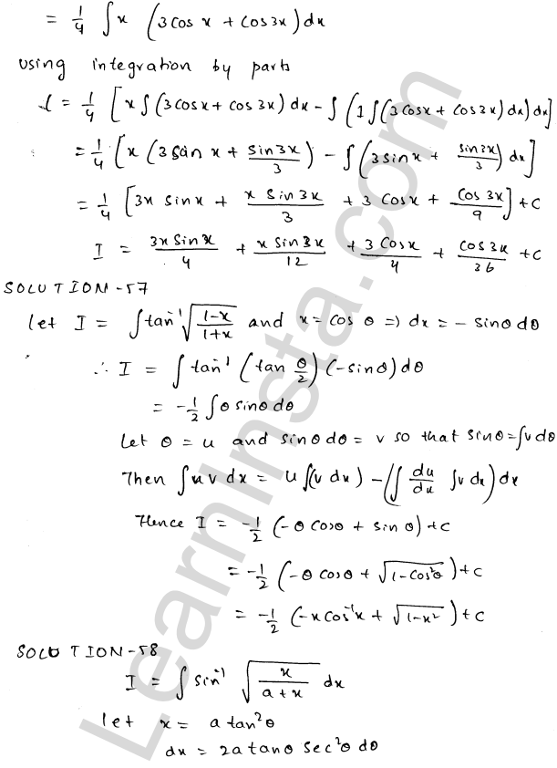 RD Sharma Class 12 Solutions Indefinite Integrals Chapter 19 Ex 19.25 30