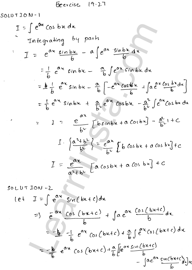 RD Sharma Class 12 Solutions Chapter 19 Indefinite Integrals Ex 19.27 1