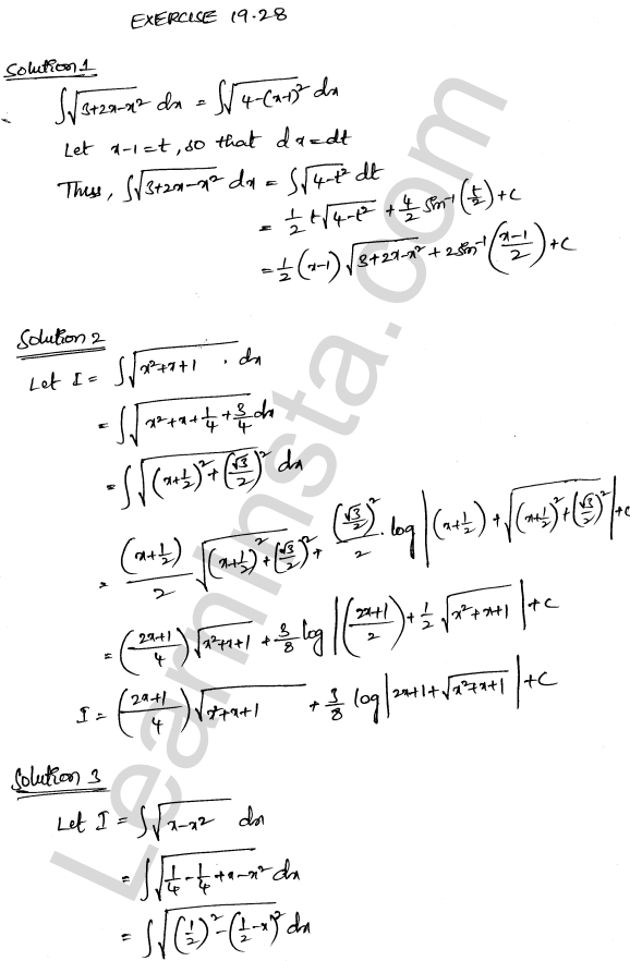 RD Sharma Class 12 Solutions Chapter 19 Indefinite Integrals Ex 19.28 1