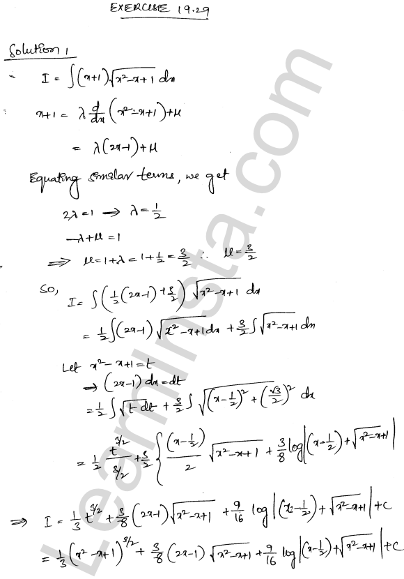 RD Sharma Class 12 Solutions Chapter 19 Indefinite Integrals Ex 19.29 1