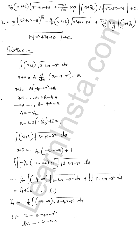 Solution of RD Sharma class 12 chapter 19 Indefinite Integrals Ex 19.29 12