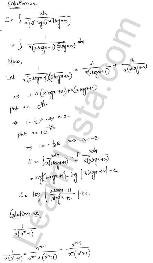 RD Sharma Solutions Class 12 Indefinite Integrals Chapter 19 Ex 19.30 15