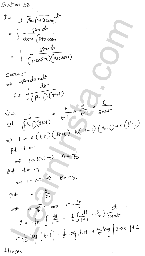 Class 12 RD Sharma maths solutions chapter 19 Indefinite Integrals Ex 19.30 38
