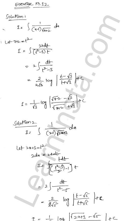 RD Sharma Class 12 Solutions Chapter 19 Indefinite Integrals Ex 19.32 1