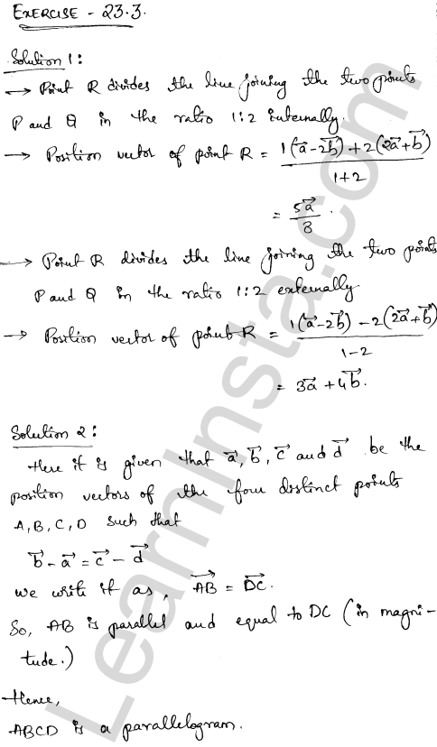 RD Sharma Class 12 Solutions Chapter 23 Algebra of Vectors Ex 23.3 1