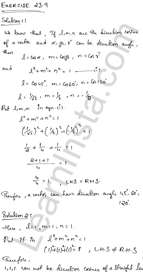 RD Sharma Class 12 Solutions Chapter 23 Algebra of Vectors Ex 23.9 1