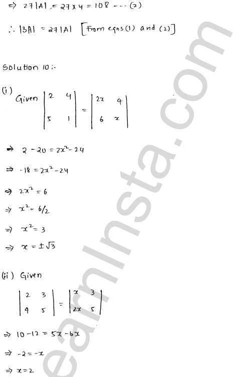 RD Sharma Class 12 Solutions Chapter 6 Determinants Ex 6.1