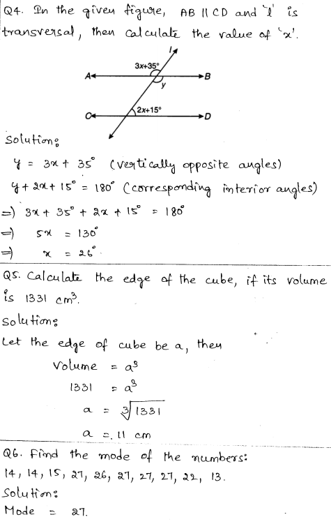 Solved CBSE Sample Papers for Class 9 Maths Paper 1 2