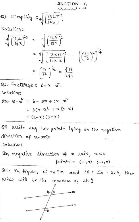 Solved CBSE Sample Papers for Class 9 Maths Set 3 - Learn CBSE