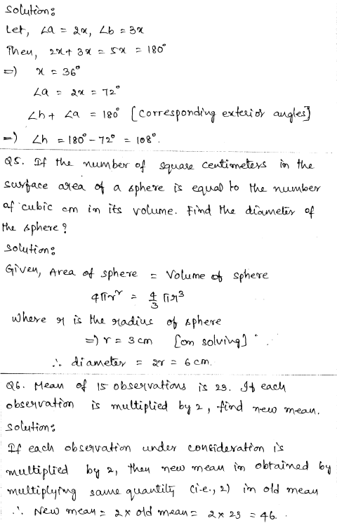 Solved CBSE Sample Papers for Class 9 Maths Paper 3 2