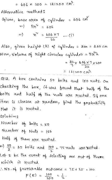 Sample Papers for Class 9 Maths Solved paper 3 5