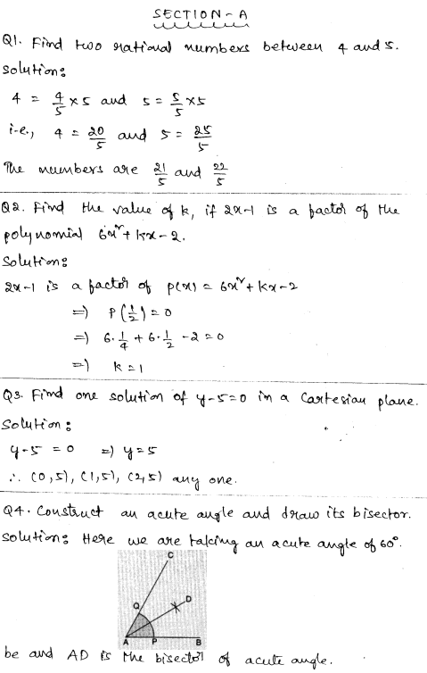 Sample Papers for Class 9 Maths Solved paper 4 1