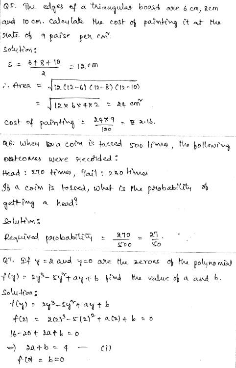 Solved CBSE Sample Papers for Class 9 Maths Paper 4 2