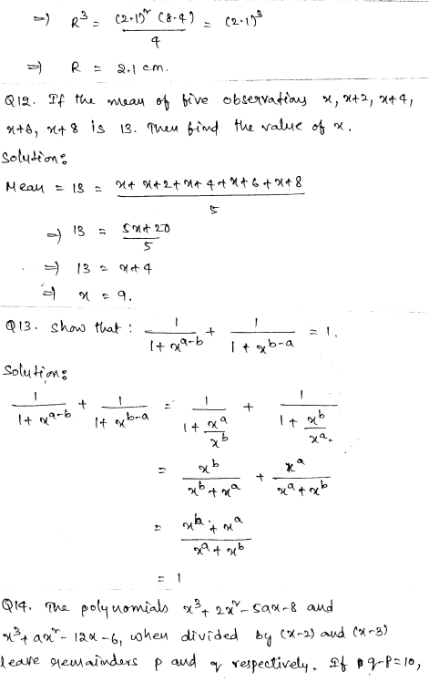 Sample Papers for Class 9 Maths Solved paper 4 5