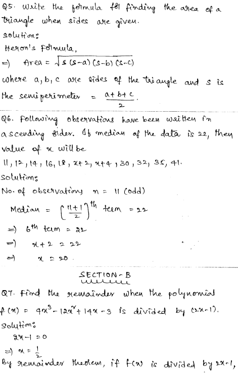 Solved CBSE Sample Papers for Class 9 Maths Paper 5 2