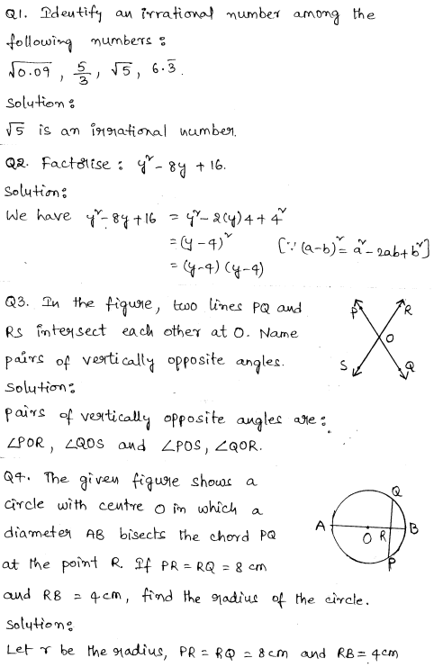 Solved Cbse Sample Papers For Class 9 Maths Set 6