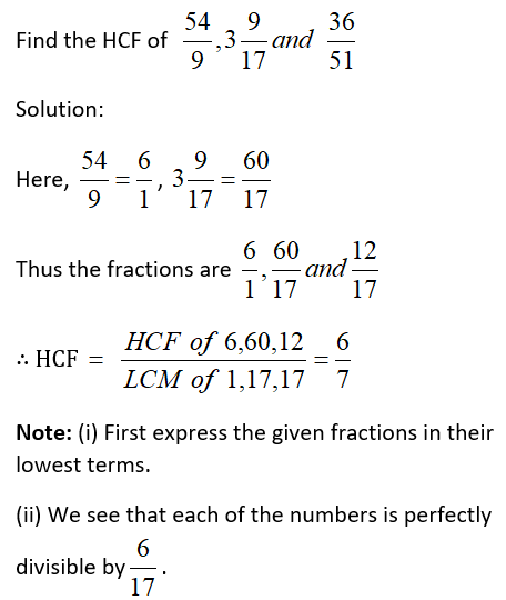 HCF of Fractions Example