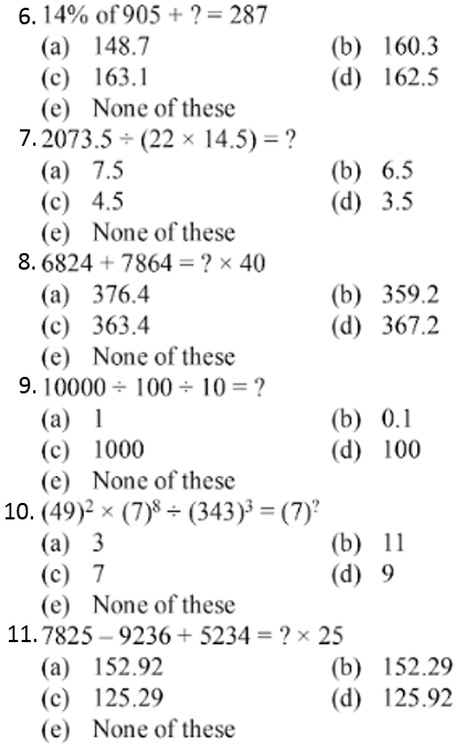 Simplification Questions for IBPS CLERK 2011 2