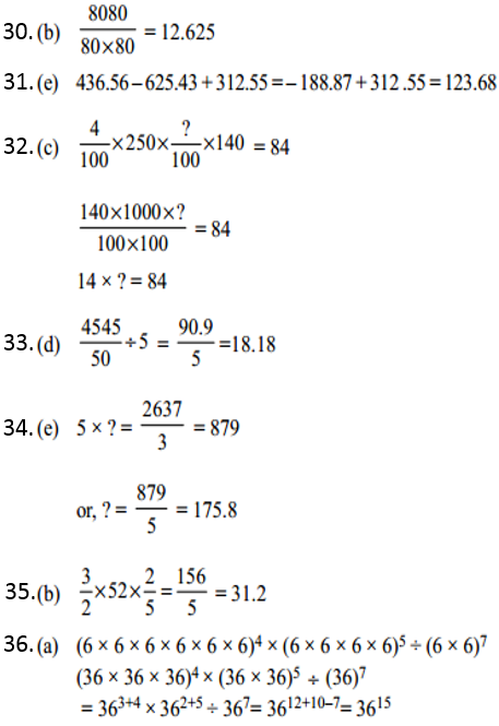 Simplification Questions for IBPS CLERK 2011 Answers 5