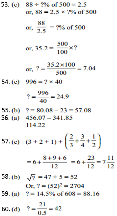 Simplification Questions for IBPS CLERK 2011 Answers 8