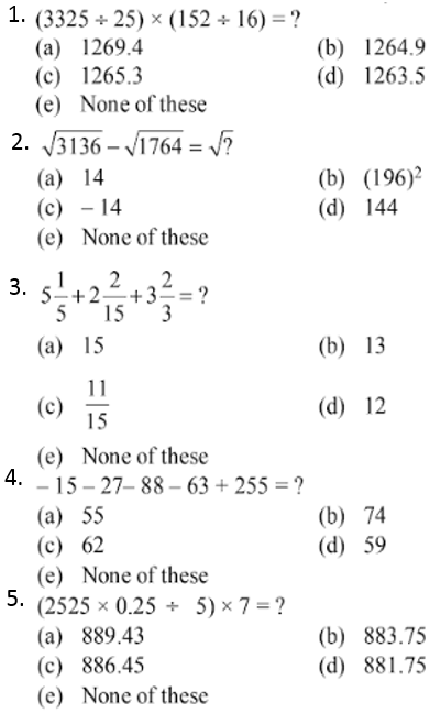 Simplification Questions for IBPS CLERK 2012 1