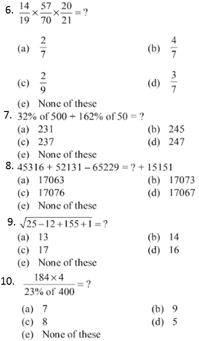 Simplification Questions for IBPS CLERK 2012 2