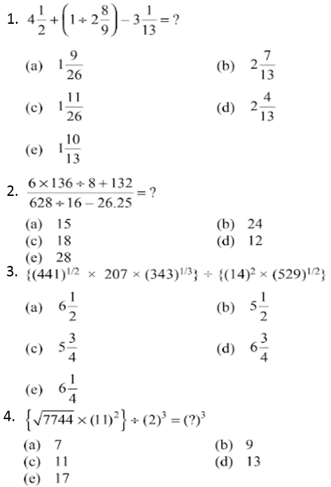 Simplification Questions for IBPS CLERK 2013 1